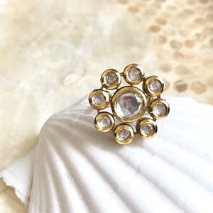 Handmade adjustable ring with uncut Kundan Stones